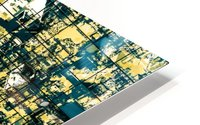 psychedelic geometric square pattern abstract background in green and yellow HD Metal print