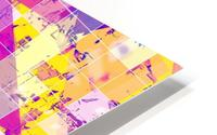 geometric square and triangle pattern abstract in pink yellow blue HD Metal print