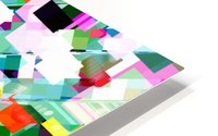 geometric square pixel pattern abstract in green pink blue yellow HD Metal print