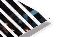 Black & White Stripes with Pacific Rose Patch HD Metal print