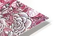 Watercolor Botanical Flowers Garden Pink Flowerbed V HD Metal print