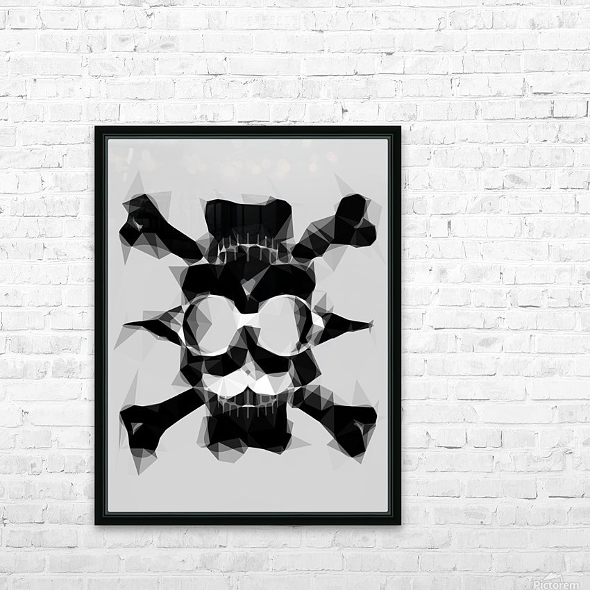 psychedelic skull art geometric triangle pattern abstract in black and white HD Sublimation Metal print with Decorating Float Frame (BOX)