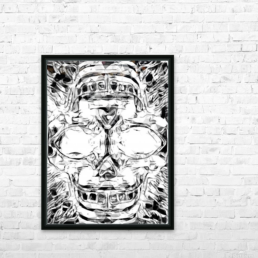 psychedelic skull art geometric triangle abstract pattern in black and white HD Sublimation Metal print with Decorating Float Frame (BOX)