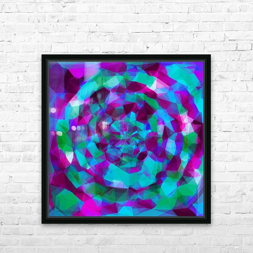 psychedelic geometric polygon pattern abstract in pink purple blue HD Sublimation Metal print with Decorating Float Frame (BOX)