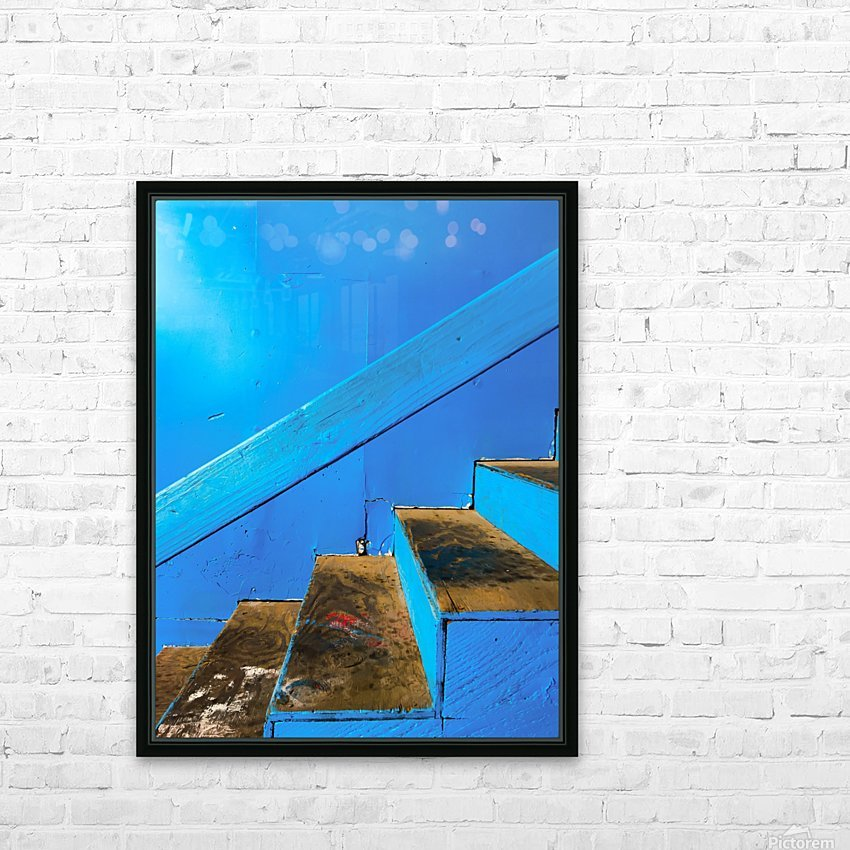 blue and brown old wood stairs with blue wall background HD Sublimation Metal print with Decorating Float Frame (BOX)