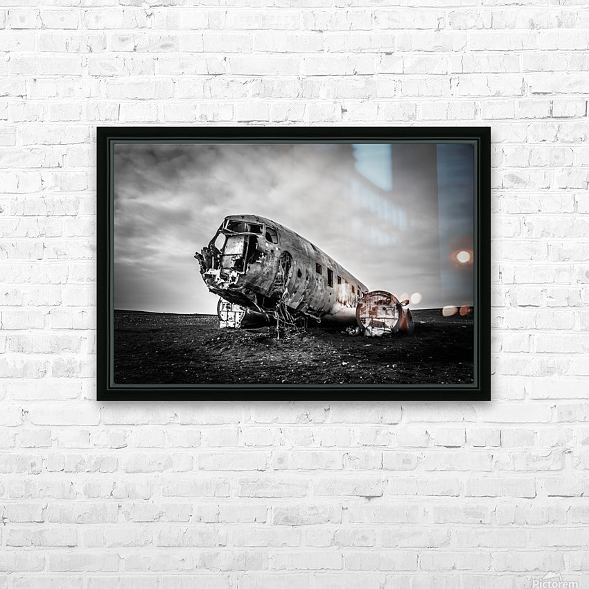Plane wreck B&W HD Sublimation Metal print with Decorating Float Frame (BOX)
