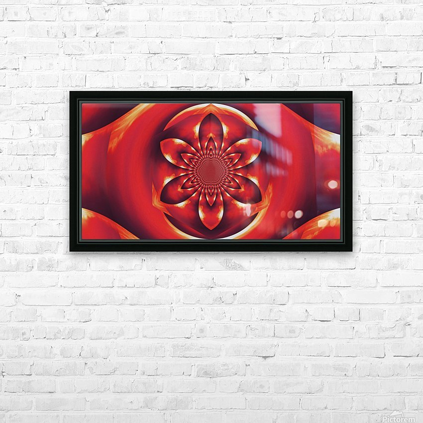 Red Fire Flower 1 HD Sublimation Metal print with Decorating Float Frame (BOX)