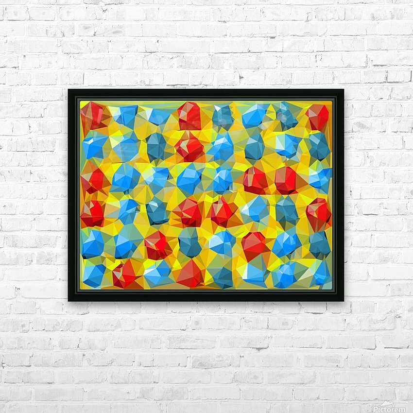 geometric polygon abstract pattern yellow blue red HD Sublimation Metal print with Decorating Float Frame (BOX)