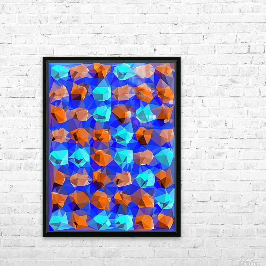 geometric polygon abstract pattern in blue and brown HD Sublimation Metal print with Decorating Float Frame (BOX)