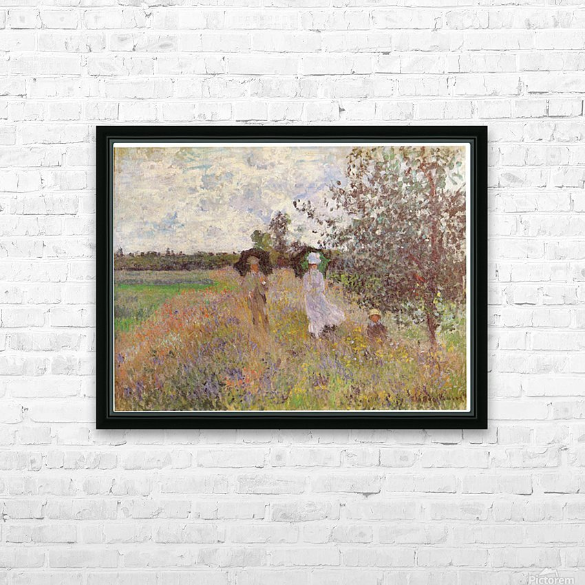 Promenade a Argenteuil 1875 by Monet HD Sublimation Metal print with Decorating Float Frame (BOX)