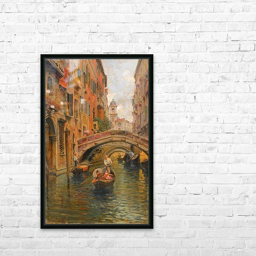 A walk with the gondola along a small canal in Venice HD sublimation métal imprimé avec décoration flotteur cadre (boîte)