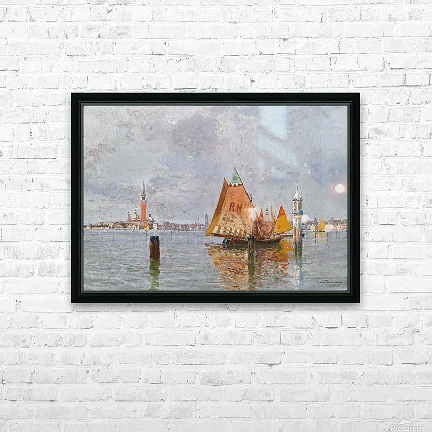 Fishing boats in Venetian lagoon HD Sublimation Metal print with Decorating Float Frame (BOX)