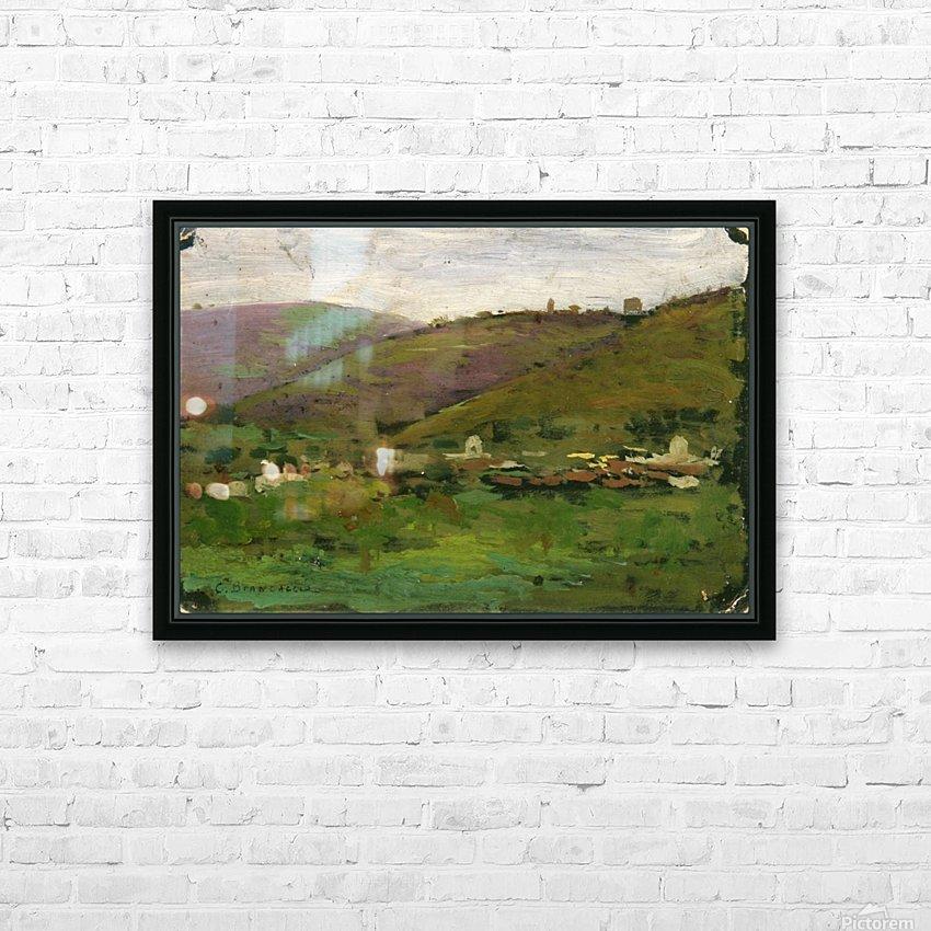 Landscape with houses on an Italian hill HD sublimation métal imprimé avec décoration flotteur cadre (boîte)