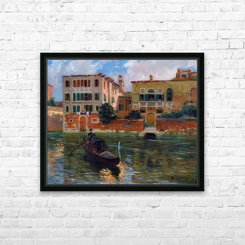 A gondola traveling along a canal in Venice HD sublimation métal imprimé avec décoration flotteur cadre (boîte)