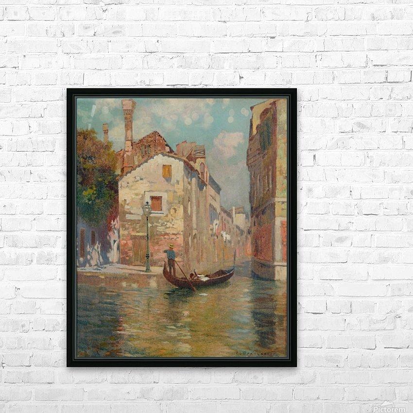 Gondola traveling along a canal in Venice HD sublimation métal imprimé avec décoration flotteur cadre (boîte)