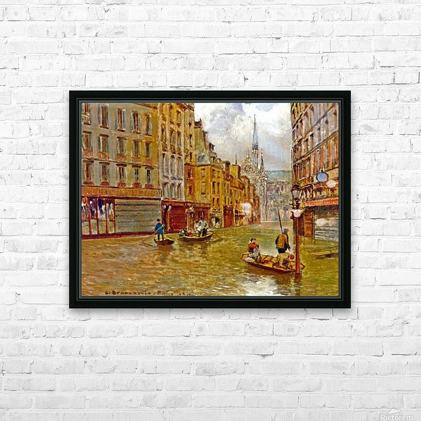 Street in Paris during Flood of 1910 HD sublimation métal imprimé avec décoration flotteur cadre (boîte)