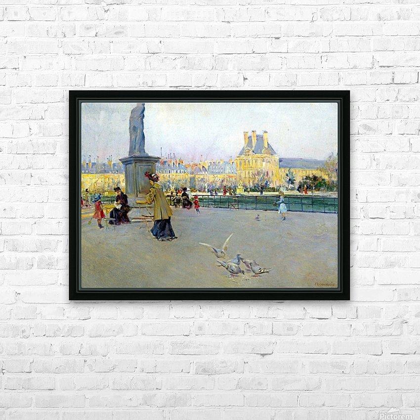 City view with figures and birds in Paris HD sublimation métal imprimé avec décoration flotteur cadre (boîte)