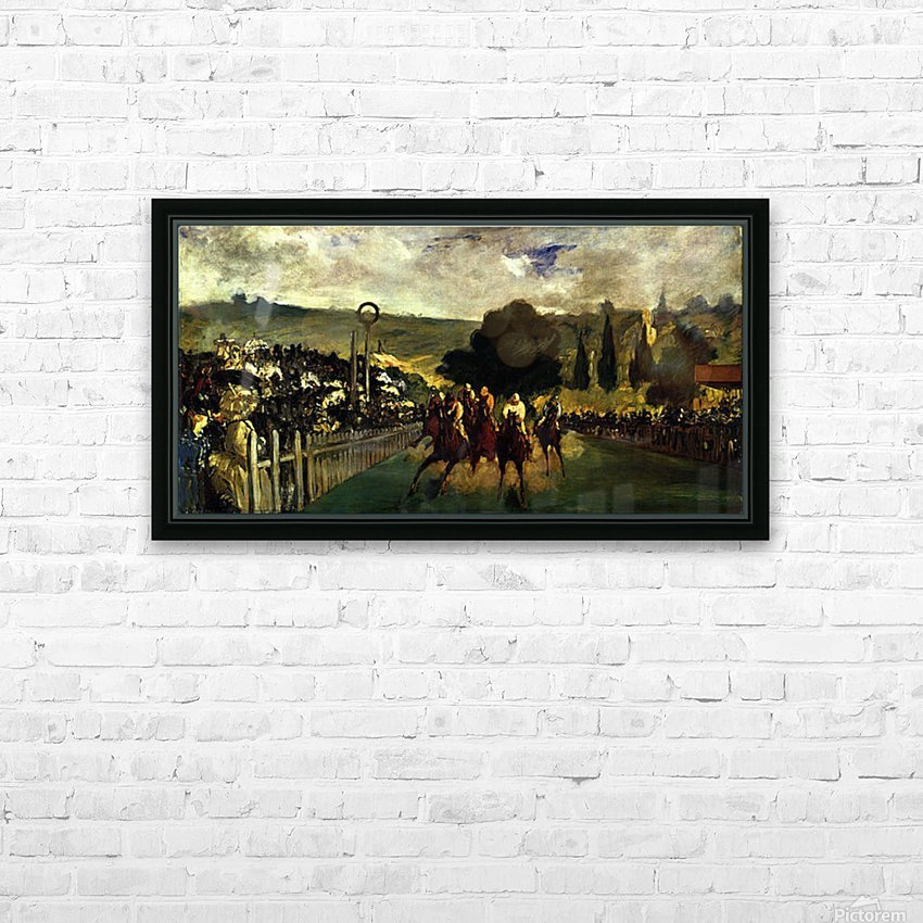 Race at Longchamp by Edouard_Manet HD Sublimation Metal print with Decorating Float Frame (BOX)