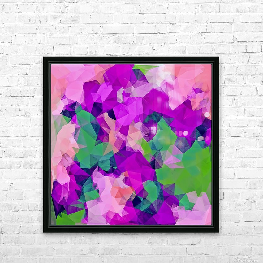 psychedelic geometric polygon pattern abstract in pink purple green HD Sublimation Metal print with Decorating Float Frame (BOX)
