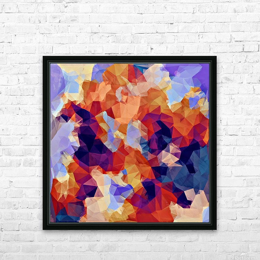 psychedelic geometric polygon pattern abstract in orange brown blue purple HD Sublimation Metal print with Decorating Float Frame (BOX)
