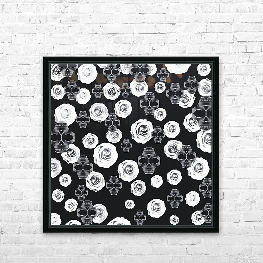 vintage skull and rose abstract pattern in black and white HD Sublimation Metal print with Decorating Float Frame (BOX)