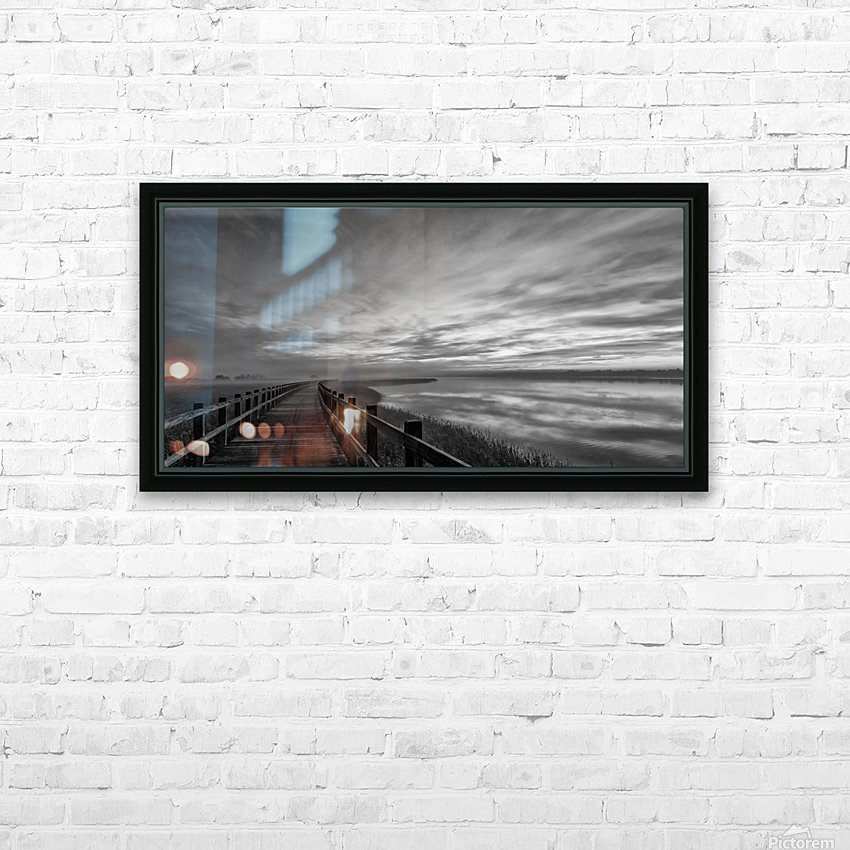 The long wooden footbridge. Dark version. HD Sublimation Metal print with Decorating Float Frame (BOX)
