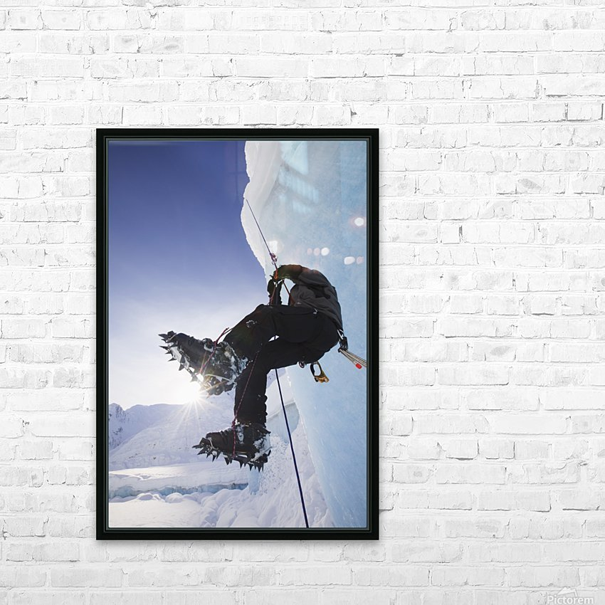 A Man Climbs A Rope Anchored On The Top Of Shakes Glacier, Stikine-Leconte Wilderness, Tongass National Forest, Southeast Alaska HD Sublimation Metal print with Decorating Float Frame (BOX)