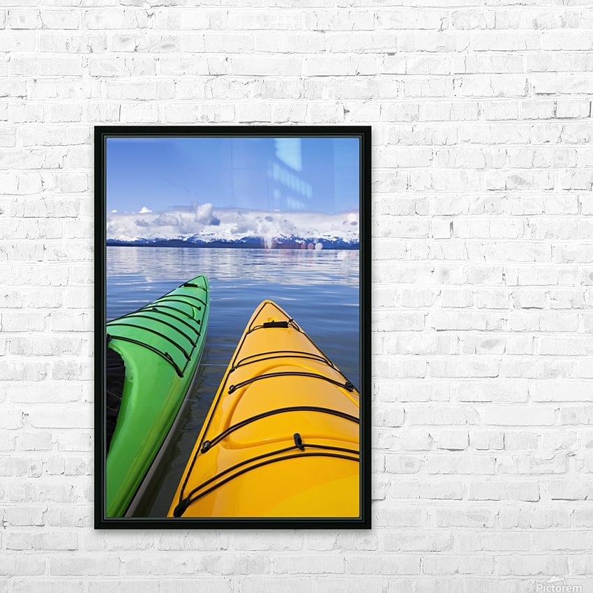 Kayakers enjoy a tranquil morning paddle in Lynn Canal, Alaska, near Juneau. Chilkat Mountains beyond. HD Sublimation Metal print with Decorating Float Frame (BOX)
