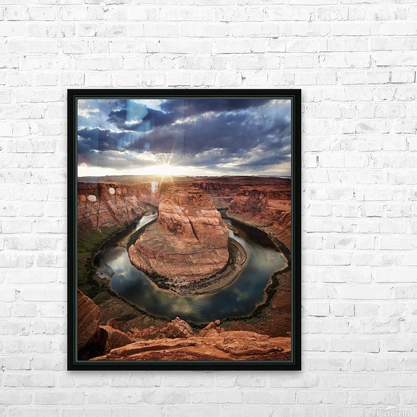 Dramatic sunset at Horseshoe Bend; Page, Arizona, United States of America HD Sublimation Metal print with Decorating Float Frame (BOX)