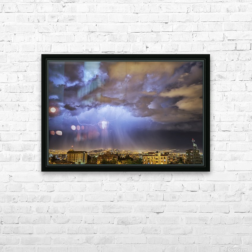 Lightning lights up the night skies above the city of Cochabamba; Cochabamba, Bolivia HD Sublimation Metal print with Decorating Float Frame (BOX)