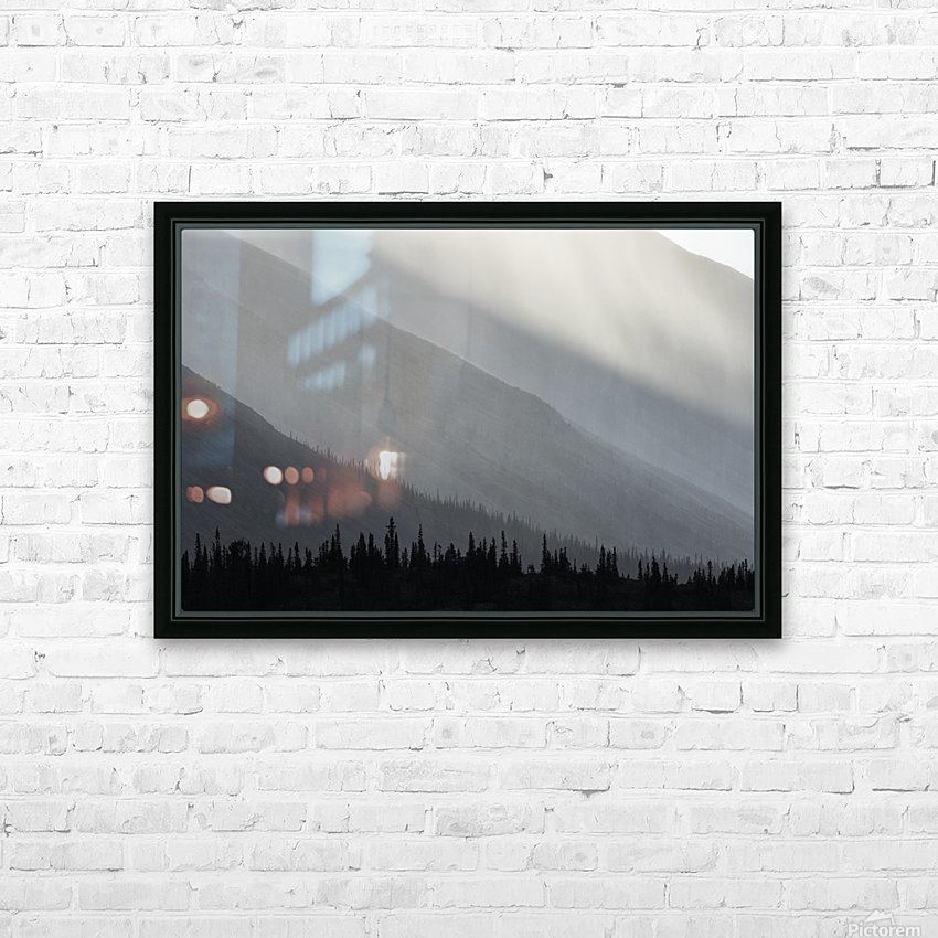 Light shines through the rain as it falls on the mountains along the Wind River in the Peel Watershed; Yukon, Canada HD Sublimation Metal print with Decorating Float Frame (BOX)