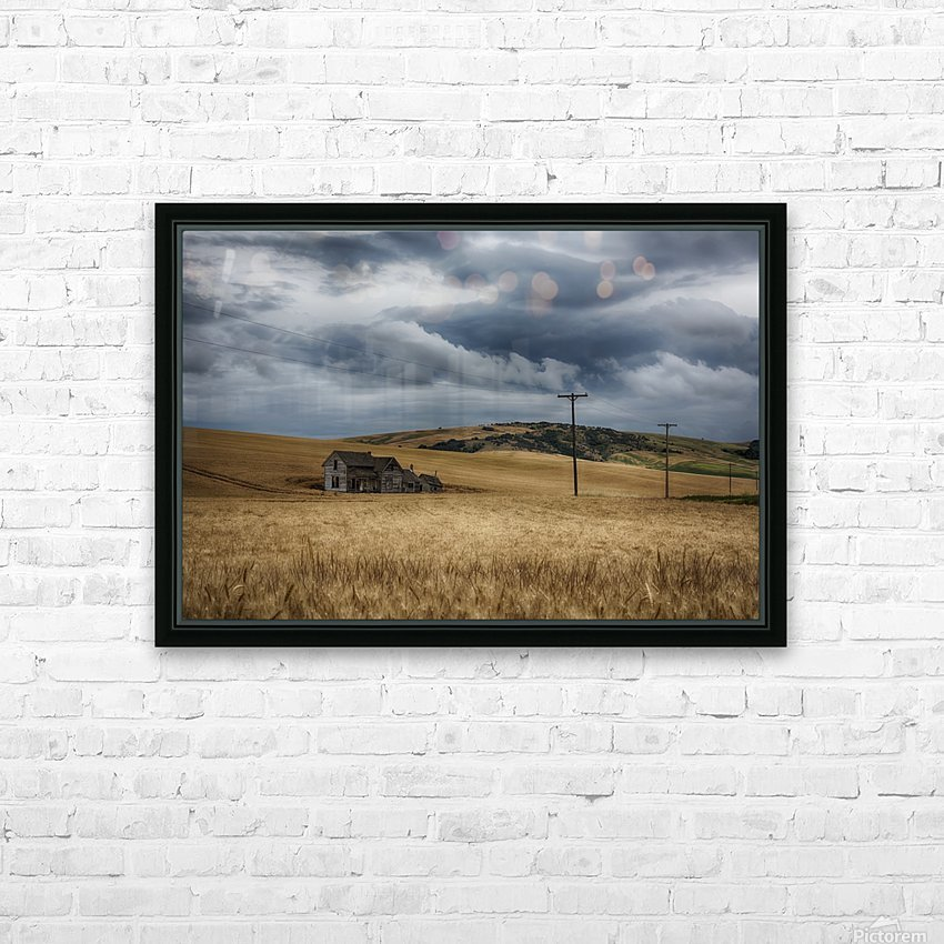 Old, rustic wooden house in the middle of a golden field under a stormy sky; Palouse, Washington, United States of America HD Sublimation Metal print with Decorating Float Frame (BOX)