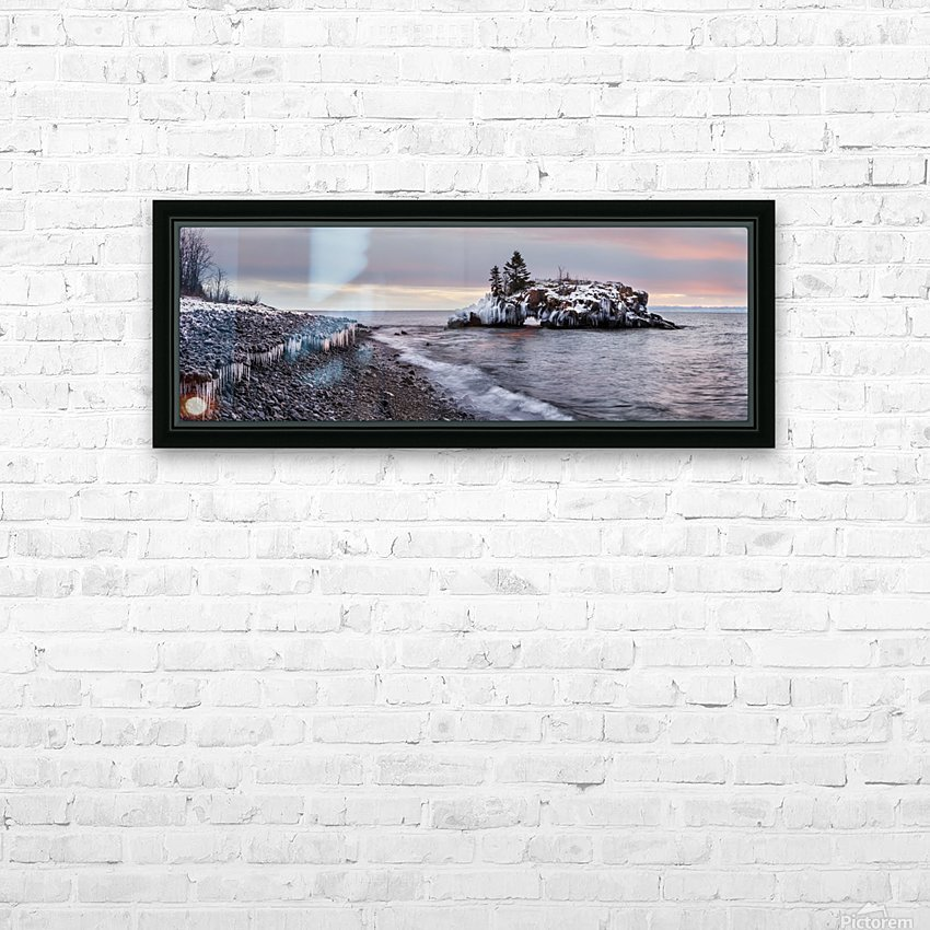Rocks and ice on Lake Superior; Thunder Bay, Ontario, Canada HD Sublimation Metal print with Decorating Float Frame (BOX)