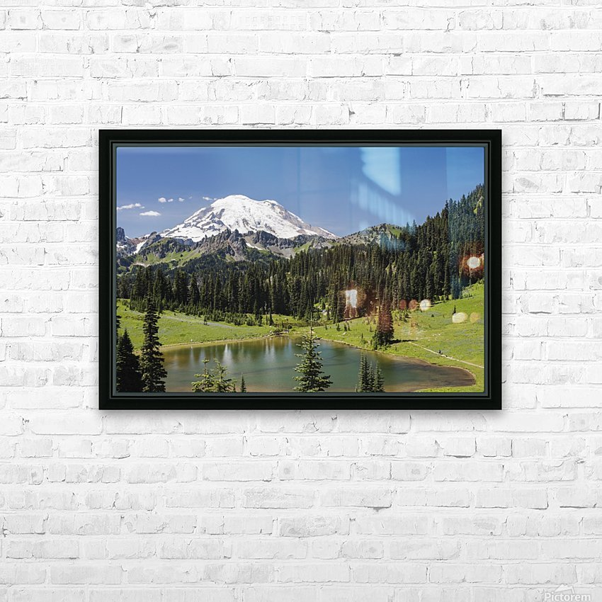 A view of Mount Rainier above Tipsoo Lake, near the top of Chinook Pass on Highway 410 in the Cascade Mountains; Washington, United States of America HD Sublimation Metal print with Decorating Float Frame (BOX)