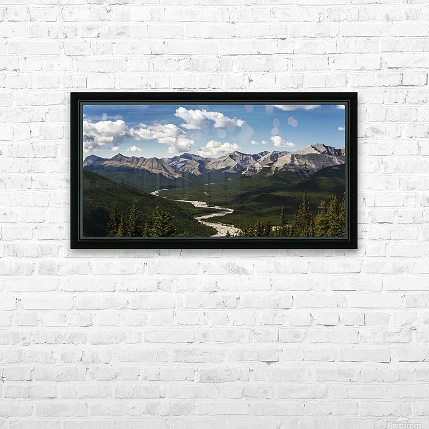 Panorama of river valley and mountain range with blue sky and clouds; Bragg Creek, Alberta, Canada HD Sublimation Metal print with Decorating Float Frame (BOX)