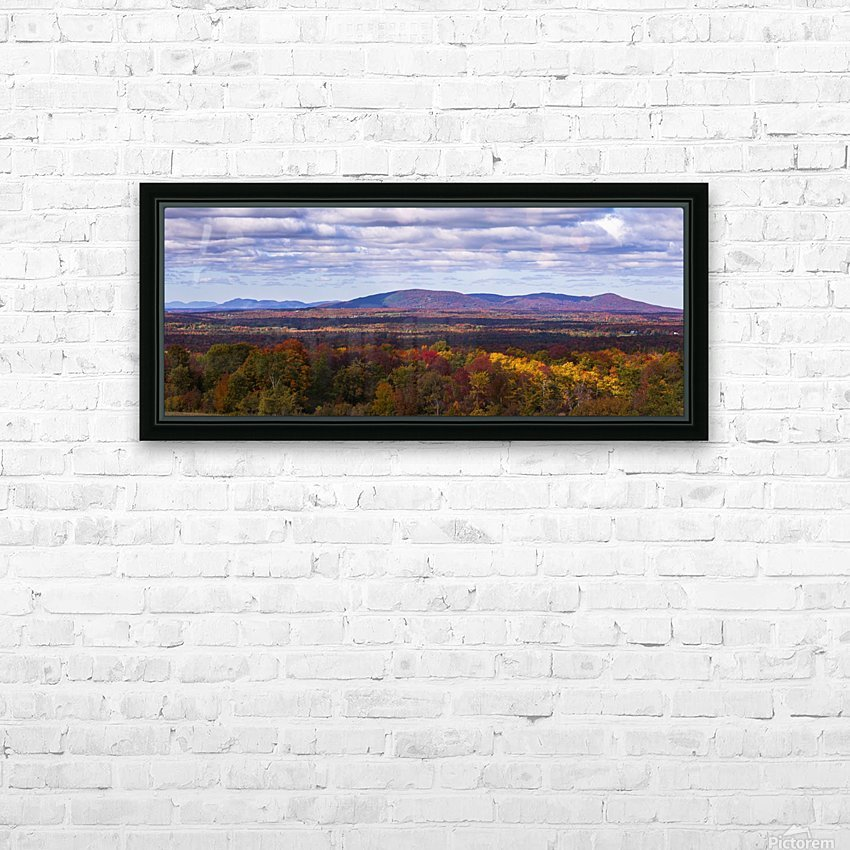 Mountain range in autumn colours with autumn coloured forest in the foreground; West Bolton, Quebec, Canada HD Sublimation Metal print with Decorating Float Frame (BOX)