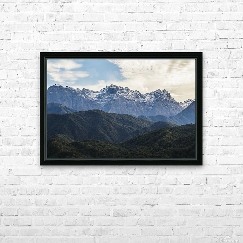 Panoramic view of the Greater Caucasus Mountains, as seen from the road between Jvari and Mestia, Zemo Svaneti National Park; Samegrelo-Zemo Svaneti, Georgia HD Sublimation Metal print with Decorating Float Frame (BOX)
