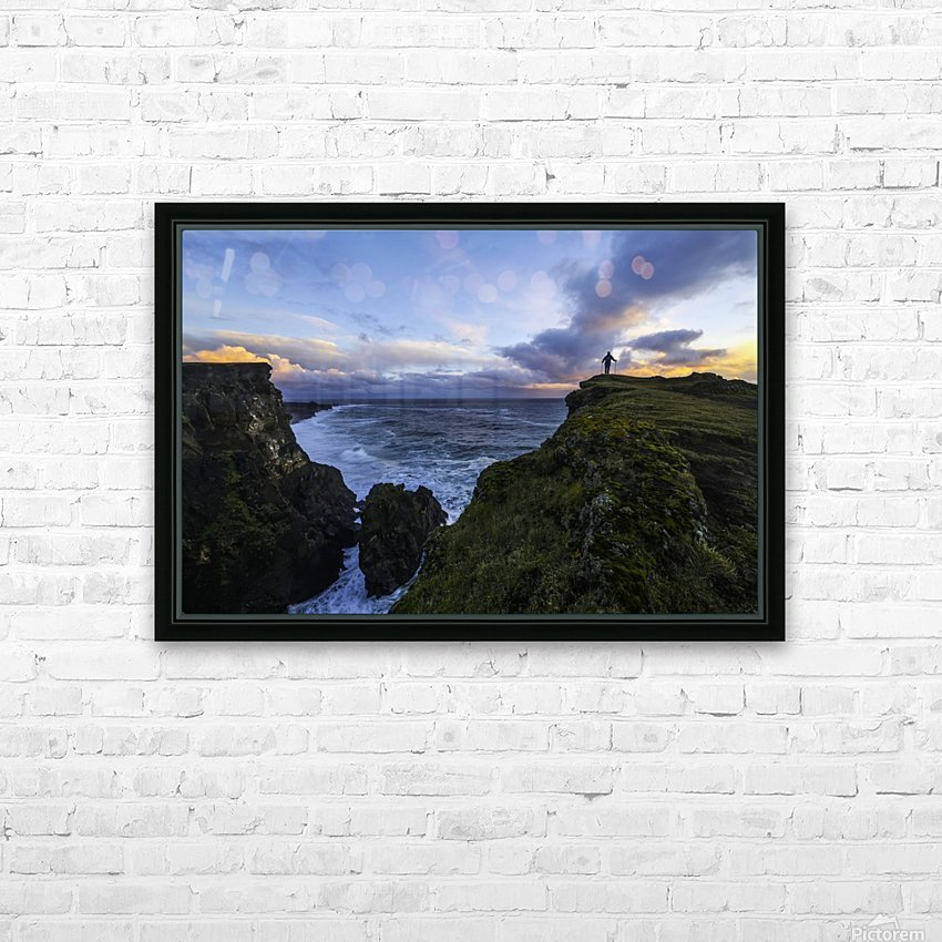Person standing on a cliff face while the Atlantic Ocean pounds the shores beneath them; Iceland HD Sublimation Metal print with Decorating Float Frame (BOX)
