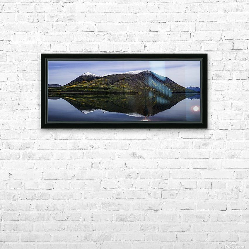 Reflection of the mountains surrounding Carcross reflected in the still waters; Yukon, Canada HD Sublimation Metal print with Decorating Float Frame (BOX)