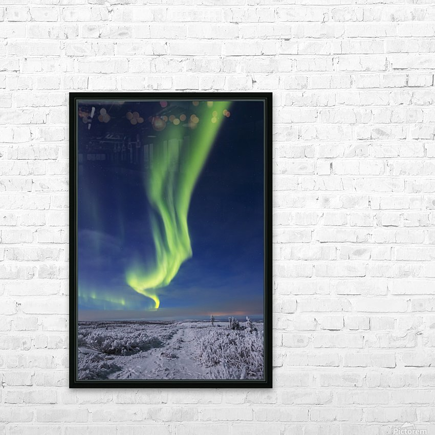 The aurora borealis shines above an ATV trail covered in snow, south of Delta Junction; Alaska, United States of America HD Sublimation Metal print with Decorating Float Frame (BOX)