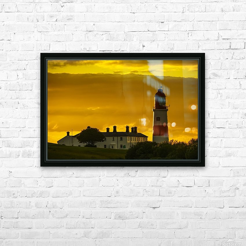 Souter Lighthouse under a glowing golden sky at sunset; South Shields, Tyne and Wear, England HD Sublimation Metal print with Decorating Float Frame (BOX)