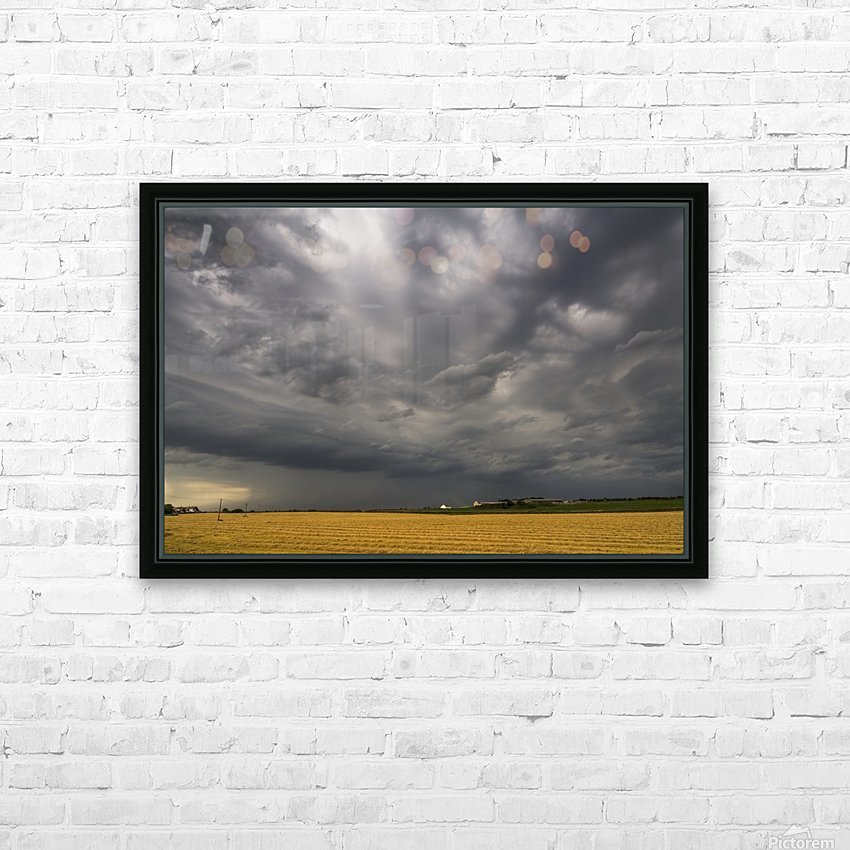 Dark storm clouds over a farm field; Whitburn, Tyne and Wear, England HD Sublimation Metal print with Decorating Float Frame (BOX)