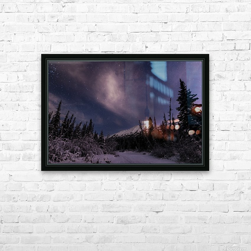 Night skies above Chugach Mountains and Eagle River Valley on winter solstice in South-central Alaska; Alaska, United States of America HD Sublimation Metal print with Decorating Float Frame (BOX)