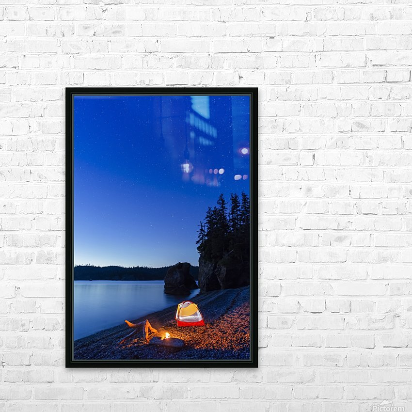 A campfire built on a beach at dusk next to a glowing tent, tranquil ocean water reflecting the warm light, Hesketh Island; Homer, Alaska, United States of America  HD Sublimation Metal print with Decorating Float Frame (BOX)