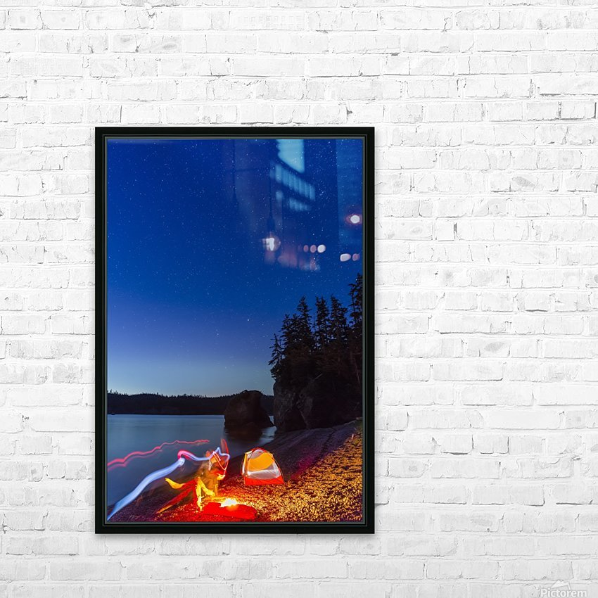 A campfire built on a beach at dusk next to a glowing tent and headlamp light trails, tranquil ocean water reflecting the warm light, Hesketh Island; Homer, Alaska, United States of America  HD Sublimation Metal print with Decorating Float Frame (BOX)