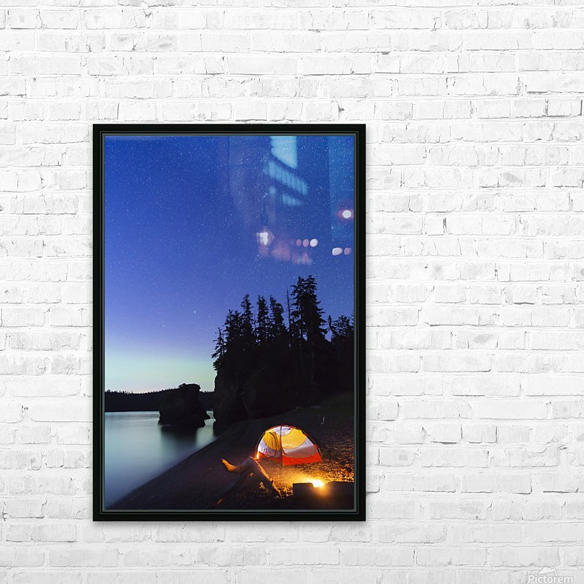 A glowing tent on a beach overlooks green Aurora Borealis reflected in the tranquil ocean water, Hesketh Island; Homer, Alaska, United States of America  HD Sublimation Metal print with Decorating Float Frame (BOX)
