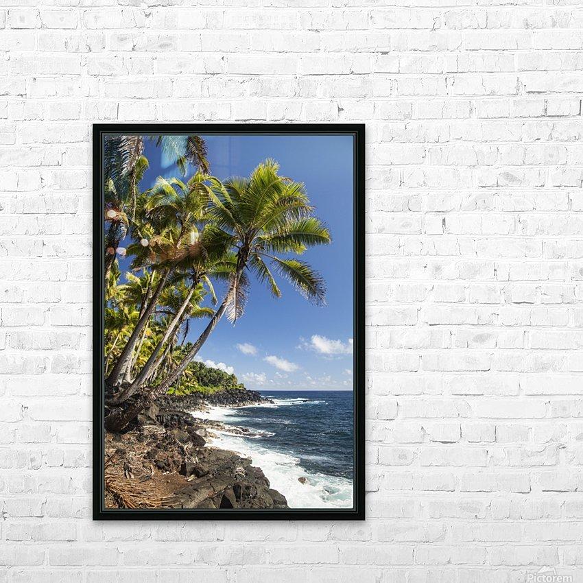 Palm trees along the Puna coastline, near Kalapana; Island of Hawaii, Hawaii, United States of America HD Sublimation Metal print with Decorating Float Frame (BOX)