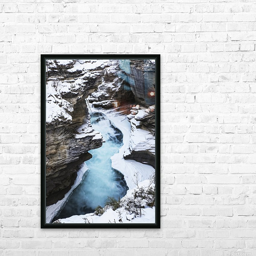 Athabasca Falls in winter, Jasper National Park; Alberta, Canada HD Sublimation Metal print with Decorating Float Frame (BOX)