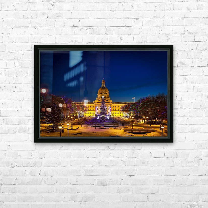 Alberta Legislature building illuminated and a Christmas tree with colourful lights on the trees for decoration at Christmas time; Edmonton, Alberta, Canada HD Sublimation Metal print with Decorating Float Frame (BOX)