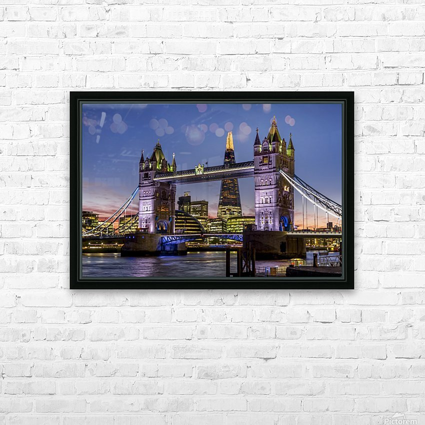 Shard with Tower Bridge at sunset; London, England HD Sublimation Metal print with Decorating Float Frame (BOX)